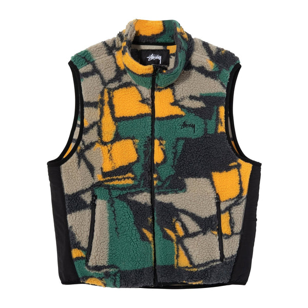 Stussy Sherpa Vest Block - Multi - Front - Off The Hook Montreal