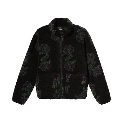 Stussy Flor Sherpa Mock Neck - Black - Front - Off The Hook Montreal