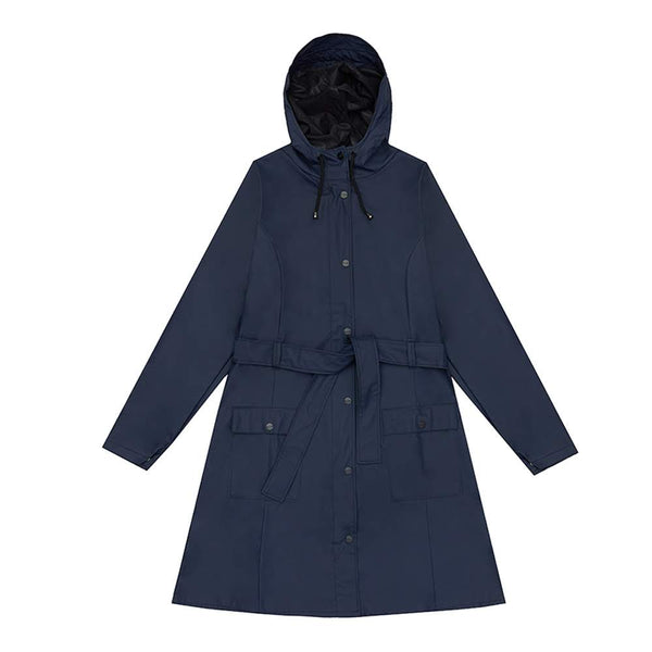 The Curve Jacket is slightly a-shaped, is equipped with a tie-belt at the waist, and emphasises the woman silhouette. Made with a water-resistant lightweight fabric, this practical trench-coat inspired raincoat features a fishtail and adjustable cuffs.  Product code 12060 off the hook oth streetwear boutique canada montreal blue