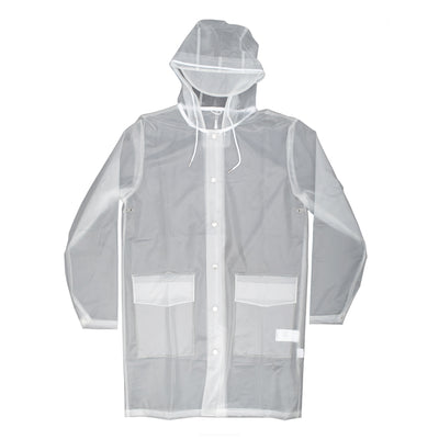 Rains 12690 Hooded Coat Foggy White - front view - available at off the hook montreal