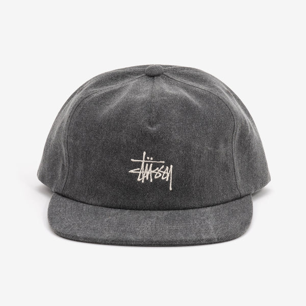 Stussy 131946 Stock Pigment Strapback Cap Black - front view - available at off the hook montreal
