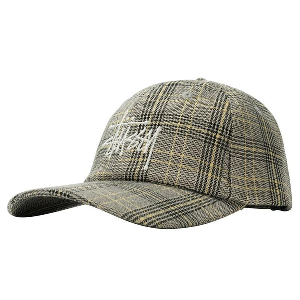 Stussy 131957 Big Logo Plaid Low Pro Cap Off White O/S front available at off the hook montreal