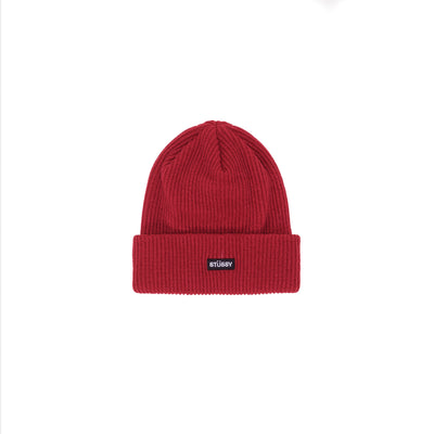 Stussy Small Patch Watchcap Beanie - Red - Front - Off The Hook Montreal #color_cardinal
