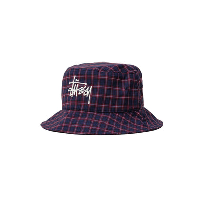 Basic Plaid Bucket Hat 1321025 - front - available at off the hook montreal #color_navy