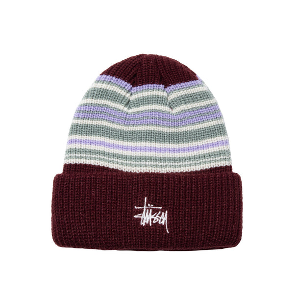 Stussy Striped Cuff Beanie - Burgundy - Front - Off The Hook Montreal
