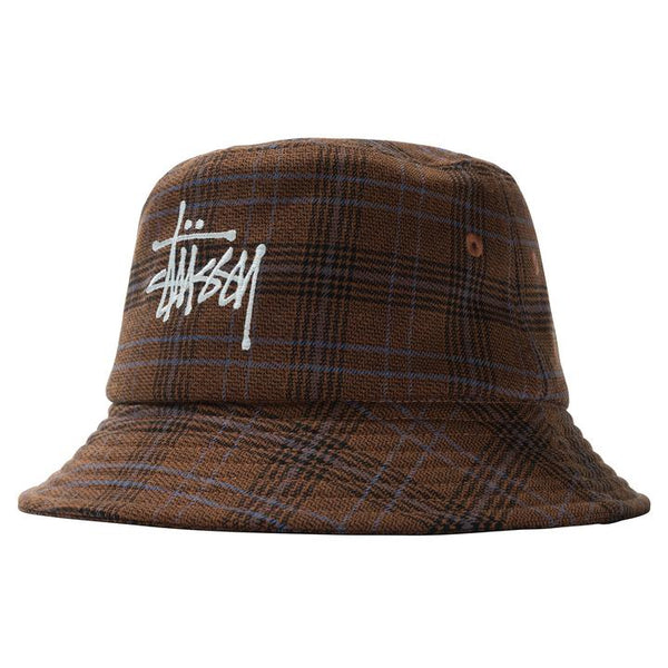 Stussy 132994 Big Logo Plaid Bucket Hat Brown front available at off the hook montreal