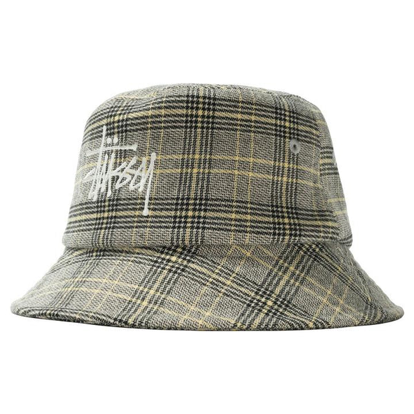 Stussy 132994 Big Logo Plaid Bucket Hat Off White front available at off the hook montreal