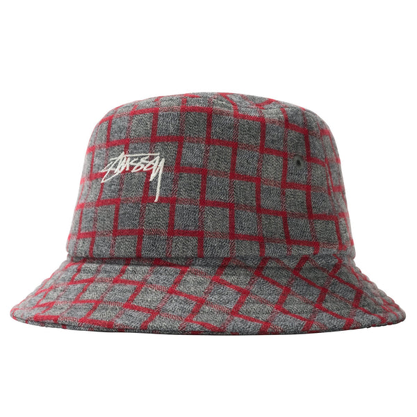 Stussy Brent Check Wool Bucket Hat - Red - Front - Off The Hook Montreal