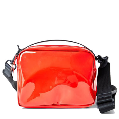 RAINS Transparent Box Bag - Glossy Red - Front - Off The Hook Montreal