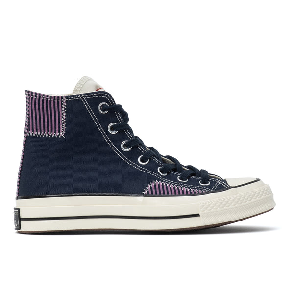 When the ocean is calling, reach for these Chucks. They've got the premium, comfort-first details you expect in a pair of Chuck 70 sneakers, plus nautical striped accents for a summer-ready look.  Product code: 167072C  nautical prep hi obsidian peony pink egret blue purple patches off the hook oth streetwear sneakers shoes boutique canada montreal converse