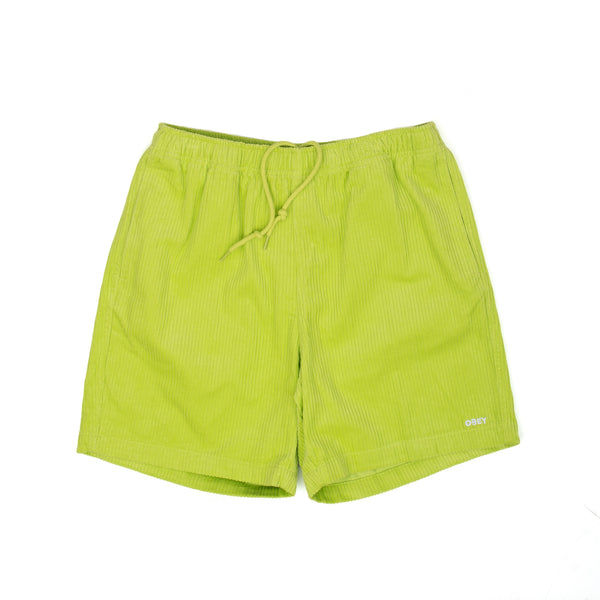 obey relaxed cord corduroy short shorts lime green yellow off the hook oth streetwear