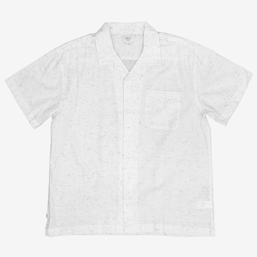 The Ideals Organic Nep Woven Shortsleeve Shirt in White from Obey is a collared button down shirt, that features an allover nep pattern, meaning an irregularity in the cotton weave.  This shirt is made as part of Obey's Ideals line, which looks to mitigate their environmental impact as much as possible.  100% Organic Cotton Product code: 181210289.WHT off the hook oth streetwear boutique canada montreal