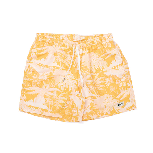 Based off of Hawaiian Aloha shirts, the Aloha print features classic Polynesian landscapes and motifs. We created the pattern in classic duotone variations to give the Hawaiian The Aloha Swim Trunk is available in Green and Yellow. The Swim Trunk cut features an elasticized waist with an ultra fine four-way stretch mesh lining, quick-dry shell, custom-tipped drawstrings and back pocket snap enclosure. Fits true to size.  Product code: 19450 yellow bather off the hook oth streetwear boutique