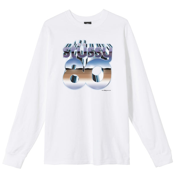 Stussy 80s Chrome LS Tee - White - Front - Off The Hook Montreal