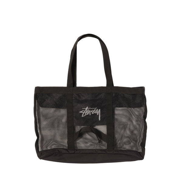 Stussy 134222 Mesh Beach Tote Bag Black- front view - available at off the hook montreal