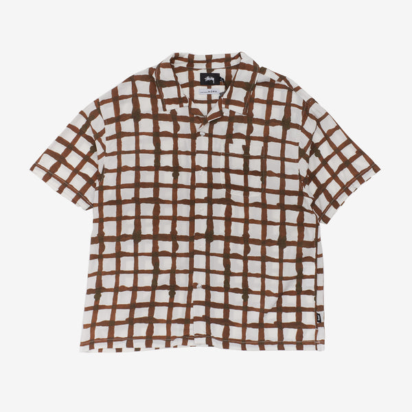 Stussy 1110132 Hand Drawn Grid Shirt Off White front available at off the hook montreal