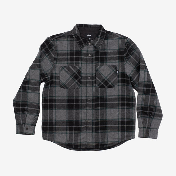 Stussy 1110122 Max Plaid Quilted Shirt Grey front available at off the hook montreal