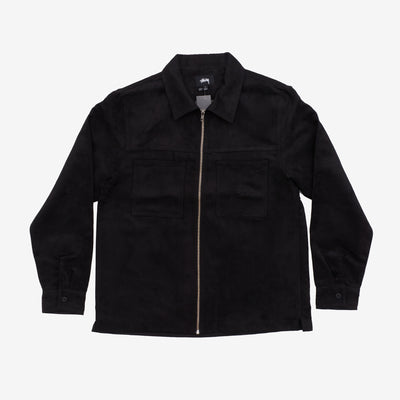 Stussy 1110134 Micro Suede Work Shirt Black front available at off the hook montreal