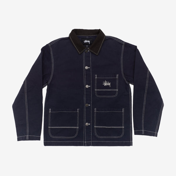 Stussy 115524 Brushed Moleskin Chore Jacket Navy front available at off the hook montreal