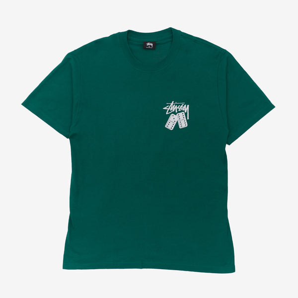 Stussy 1904570 Dominoes Tee Dark Green front available at off the hook montreal