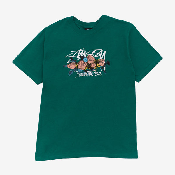 Stussy 1904574 ITP Roses Tee Dark Green front available at off the hook montreal