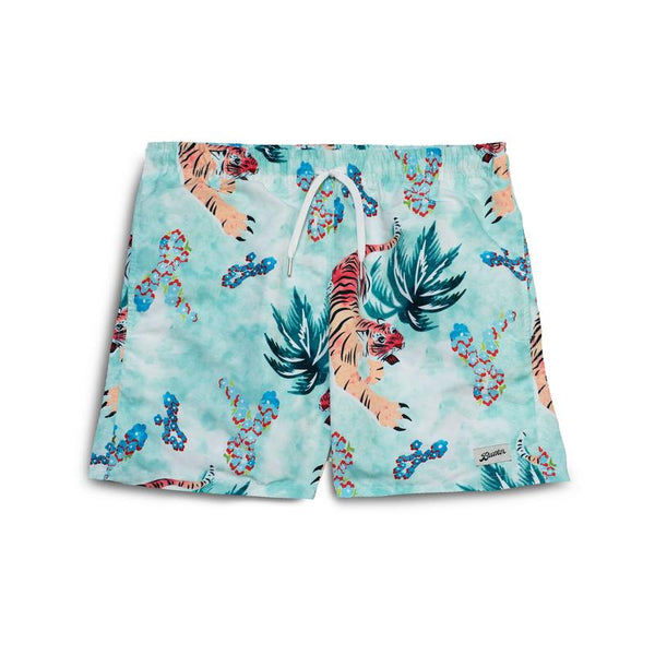 BATHER Hawaiian Tiger Swim Trunk - Green - Front - Off The Hook Montreal