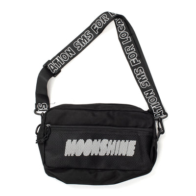 Just clicked Participate on a mysterious after-hours event? Start packing! This fanny pack will keep all your belongings safe and will add panache to your outfit.  Product code: MOONSHINESAPBAG Moonshine Sapologie Waist Bag Black off the hook oth streetwear boutique canada