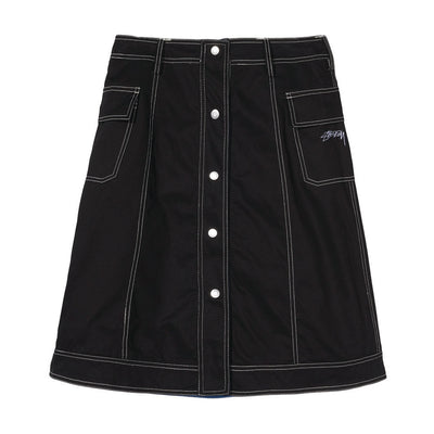 stussy womens skirt contrast stitching black clyde reversible oth off the hook