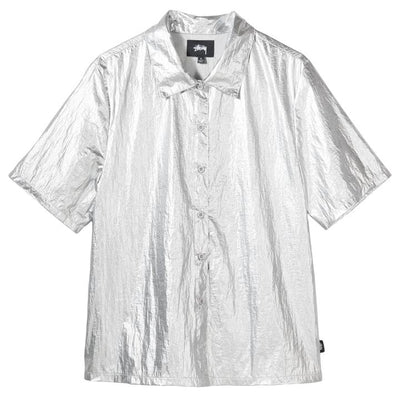 Stussy 211183 Shiny Button Down Silver front available at off the hook montreal