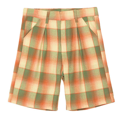 stussy womens shorts plaid baggy loose oth off the hook yellow