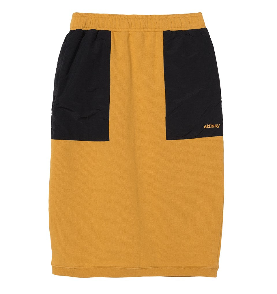 stussy womens skirt pencil cotton nylon yellow black oth off the hook simone contrast pocket canada montreal boutique
