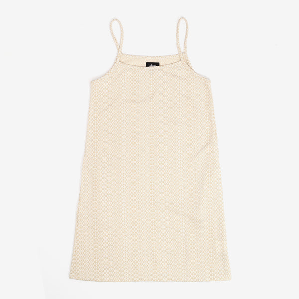 The Tonal Jacquard Dress in White is a fitted spaghetti strap dress with an allover Stussy jacquard logo knit. It sports a small pocket at the front.  Product code: 214528  off the hook oth streetwear boutique canada montreal womens
