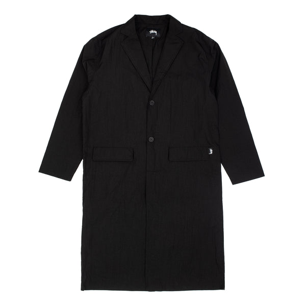 Stussy - 215122 Long Light Nylon Coat W Black - front view - available at off the hook montreal