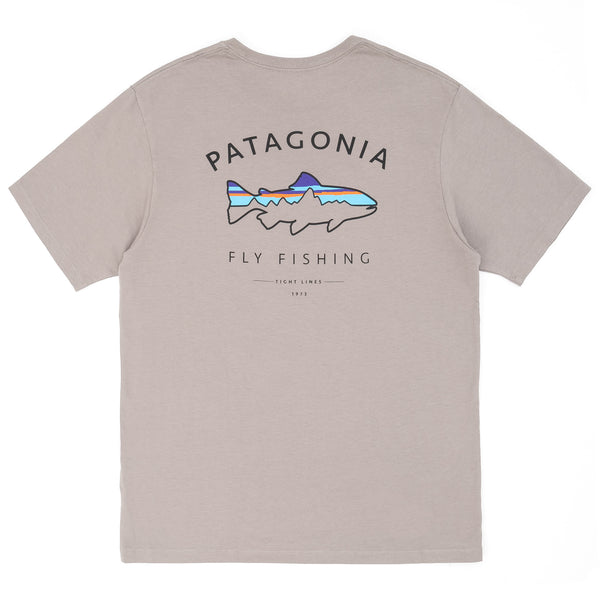 Pantagonia Framed Fitz Roy Trout Organic T-Shirt - Heather Grey - Back - Off The Hook Montreal