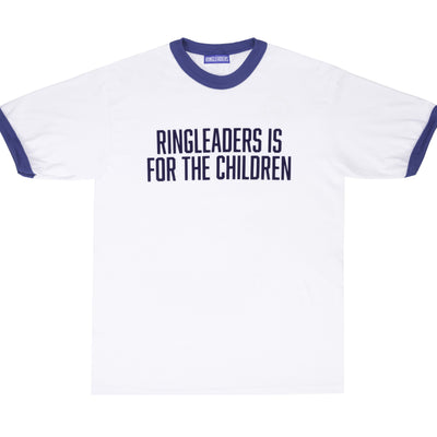 Vintage inspired ringer T-Shirt with a felt print at the chest. 100% cotton.  Product code: RFC066-WHT/RYLBLU Ringleaders Is For The Children T-Shirt White / Royal Blue off the hook oth streetwear boutique canada montreal
