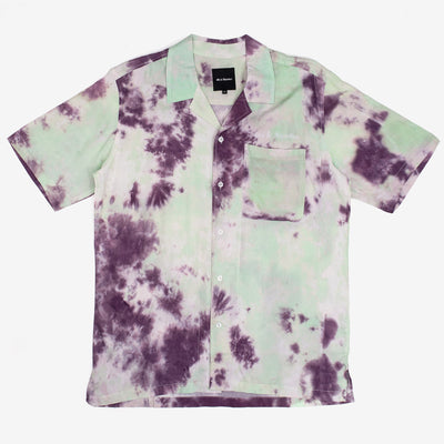 The Sky High Shirt in Tie Dye by 40s & Shorties is a unique tie dye button up shirt that varies from each garment. The garment is constructed from 150 GSM rayon, and features embroidery above the left chest pocket.  Product code: SKHSMSU20 off the hook oth streetwear boutique montreal canada quebec