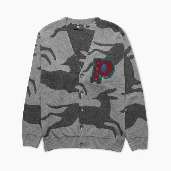 By Parra Jumping Foxes Knitted Cardigan Grey front available at off the hook montreal