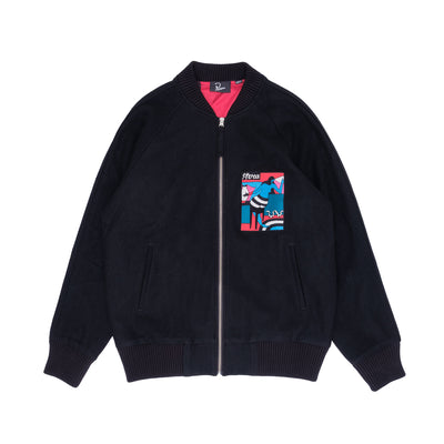 By Parra Bar Messy Wool Jacket - Front - Off The Hook Montreal #color_dark-navy