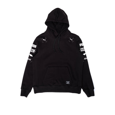 Front view of the Nemen x Puma Hoodie, hoodie is all black with Puma logos on the left and right side of the chest as well as on the upper arm of the sleeves. #color_black