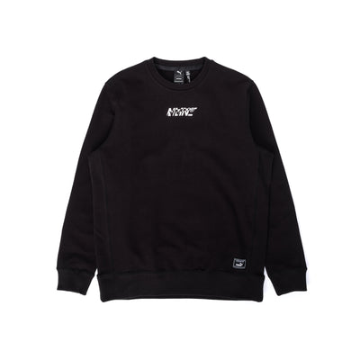 Front view of the Nemen x Puma Collaboration, crewneck is all black with collaborative branding situated at the centre chest. Available now online at OTH Off the Hook Montreal. #color_black