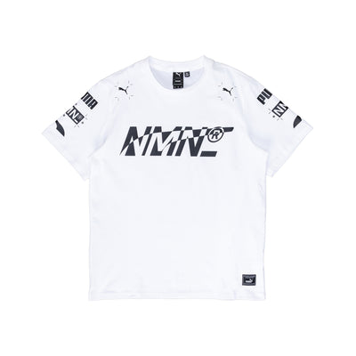 Front view of the White Nemen x Puma tee, features collaborative branding upper and lower back. Now available at OTH Off the Hook Montreal. #color_white