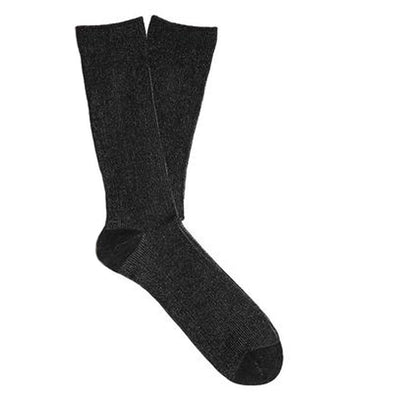 N/A's Three socks combine a custom cable knit band with custom spun marled yarns to deliver comfort and style. Heels and toes are reinforced.  Mid-calf style Product code: 5513001 Three Mid-Calf Socks Black off the hook oth streetwear boutique canada montreal