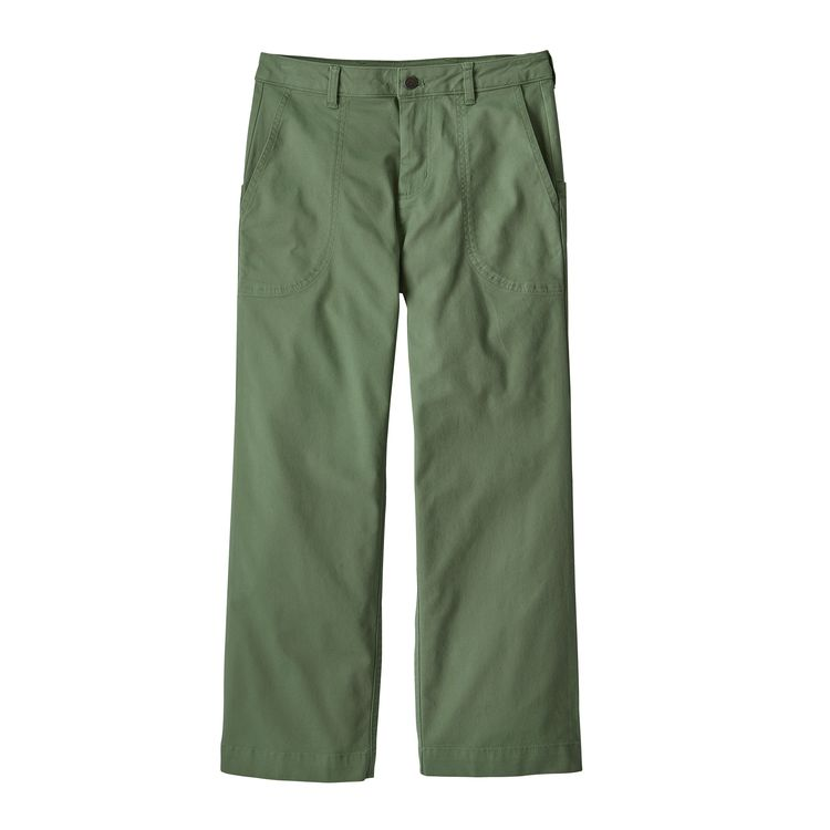 Patagonia's Stand Up® Cropped Pants are a modern take on a classic Patagonia product. Made of durable, yet stretchy 97% organic cotton/3% spandex canvas, the cropped pants feature our enduring Stand Up Shorts® front pocket design  back pockets hook-and-loop closure. Waistband belt loops, metal button and zippered fly Regular rise. Fair Trade Certified™ sewn. women's sizing. Product code: 55335 off the hook oth streetwear canada montreal boutique