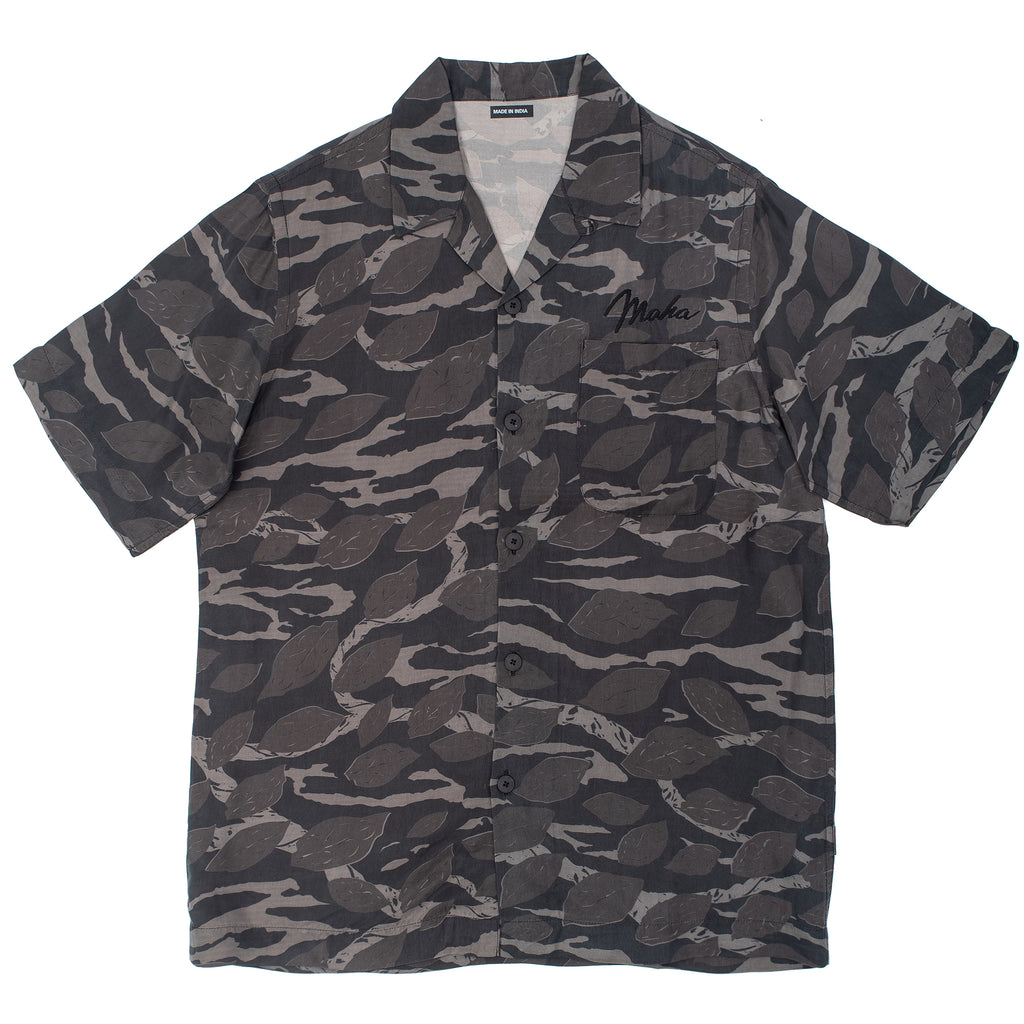 The Camo short sleeve shirt is made of Japanese Cupro Twill and features an allover DPM, a chest patch pocket, a camp collar with button loop, and a hand-machined chest embroidery. night off the hook oth streetwear boutique canada montreal maharishi