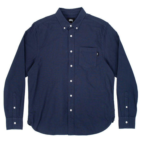 stussy button up oxford classic blue navy longleseve workwear shirt black off the hook oth