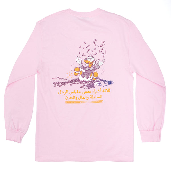 "This Long Sleeve also offers state-of-the-art functionality as it provides you with a conversation-starter quote. If the queue leading to the refreshment station is too long, discuss about the intricacy of the Tunisan proverb printed below Scrooge McDuck.  Product code: ACIDPACKMCDUCKLSTEE-ROSE Scrooge McDuck/Picsou ""Acid Pack"" L/S T-Shirt Rose longsleeve pink off the hook oth streetwear graphic boutique canada montreal"