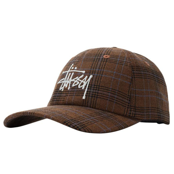 Stussy 131957 Big Logo Plaid Low Pro Cap Brown front available at off the hook montreal