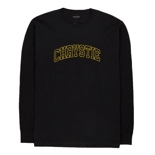Chrystie CHRYSTIEHO2004 Collegiate Logo Long Sleeve Shirt Black front available at off the hook montreal