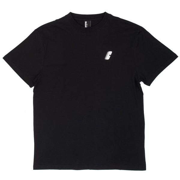 The Race C Logo Tee in black by Chrystie from Chrystie NYC comes in a cut and sew 170 GSM construction, with a silk screened logo on the left chest.