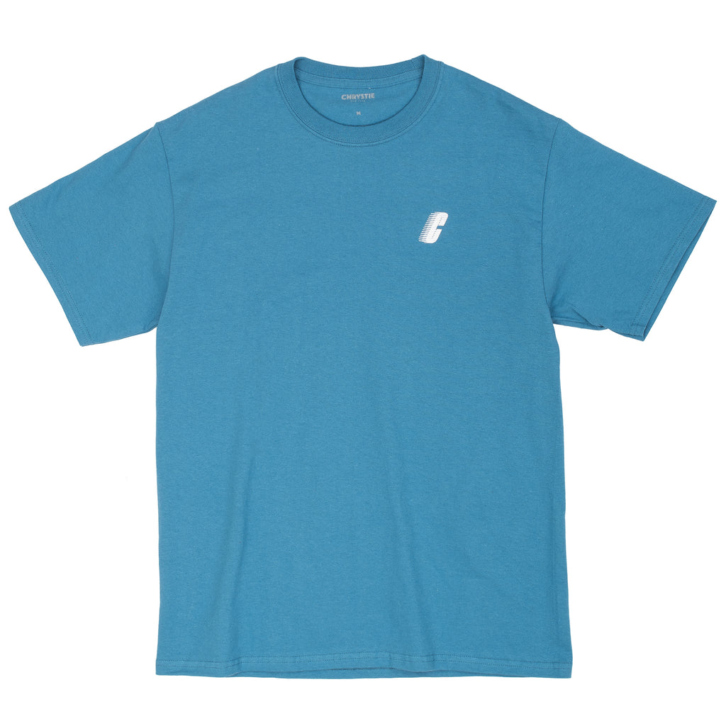 The Race C Logo Tee in blue by Chrystie from Chrystie NYC comes in a cut and sew 170 GSM construction, with a silk screened logo on the left chest.